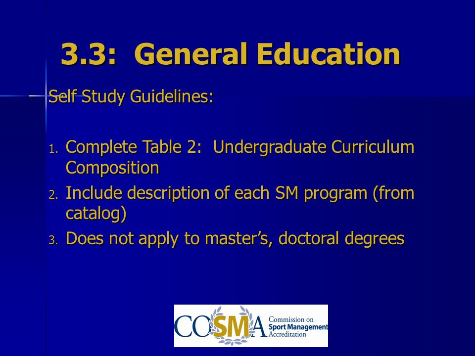 3.3: General Education Self Study Guidelines: