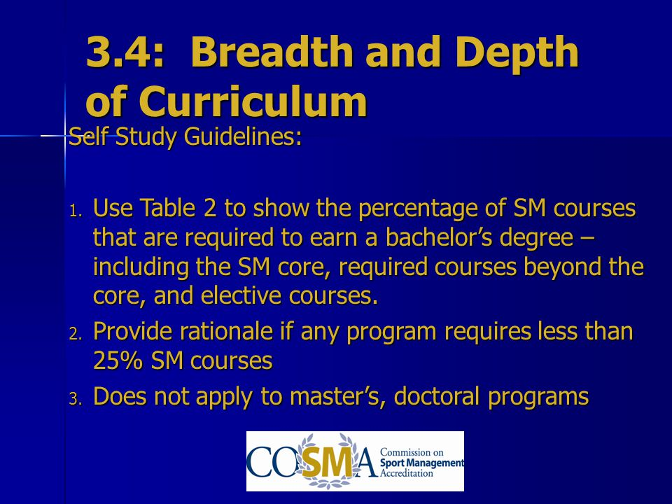 3.4: Breadth and Depth of Curriculum