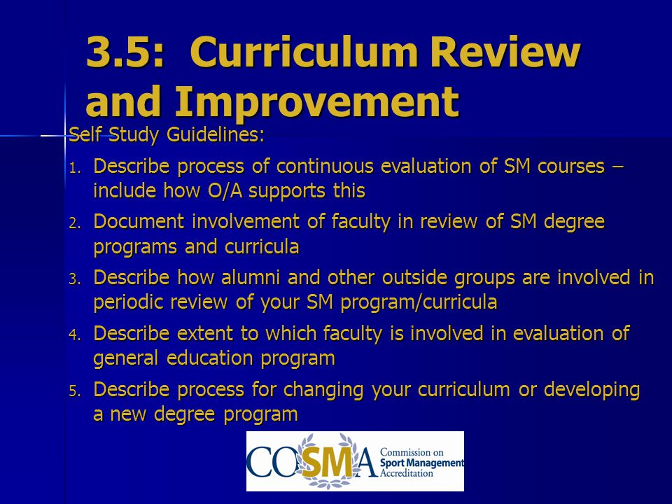 3.5: Curriculum Review and Improvement