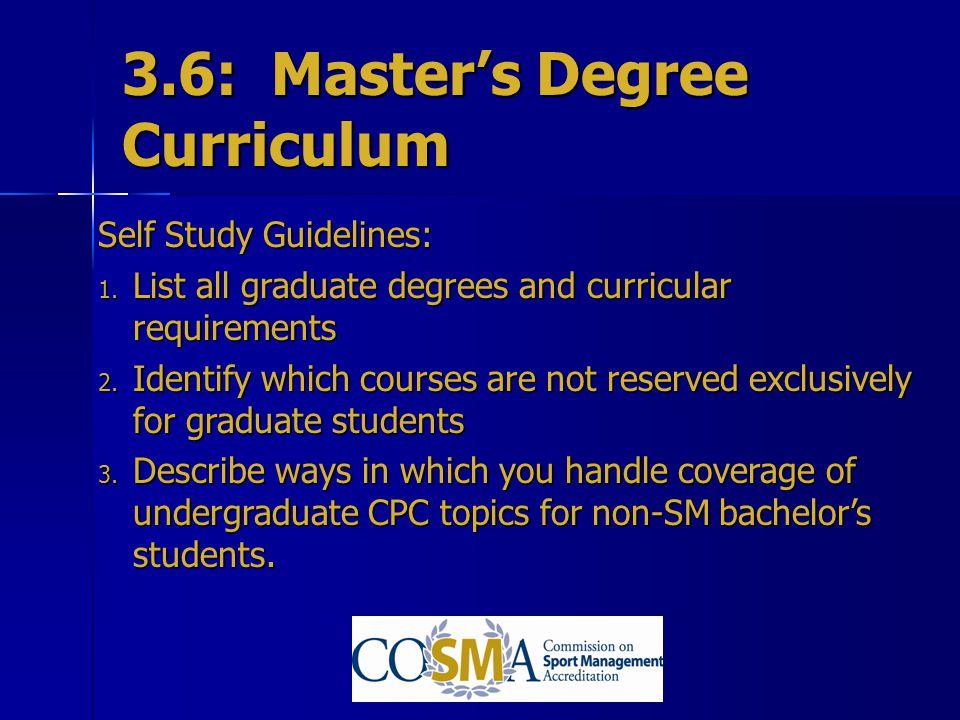 3.6: Master's Degree Curriculum
