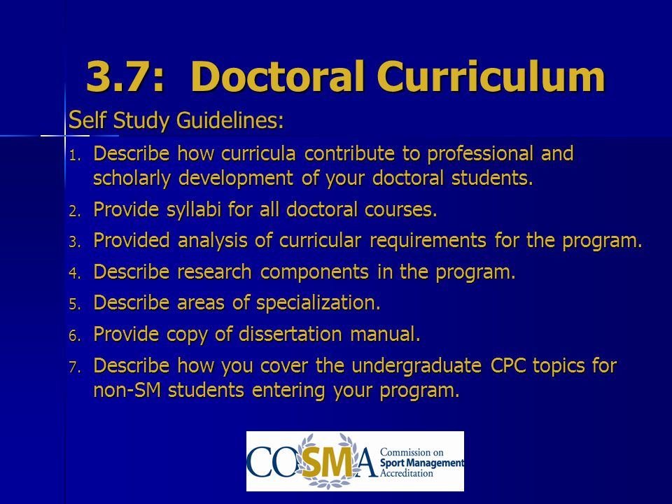 3.7: Doctoral Curriculum Self Study Guidelines: