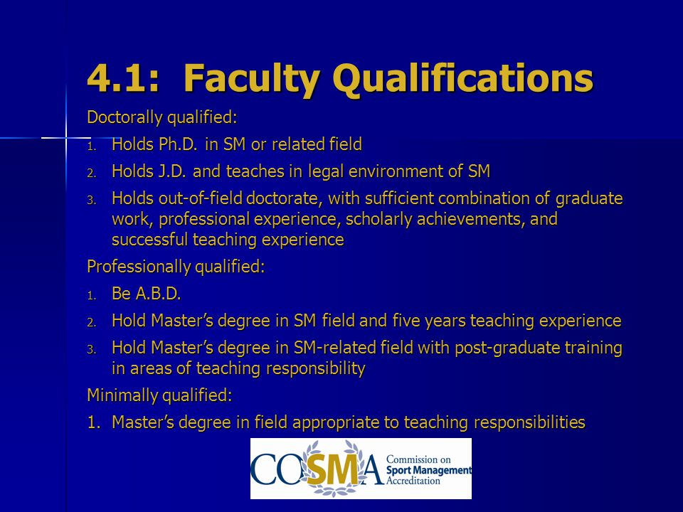 4.1: Faculty Qualifications