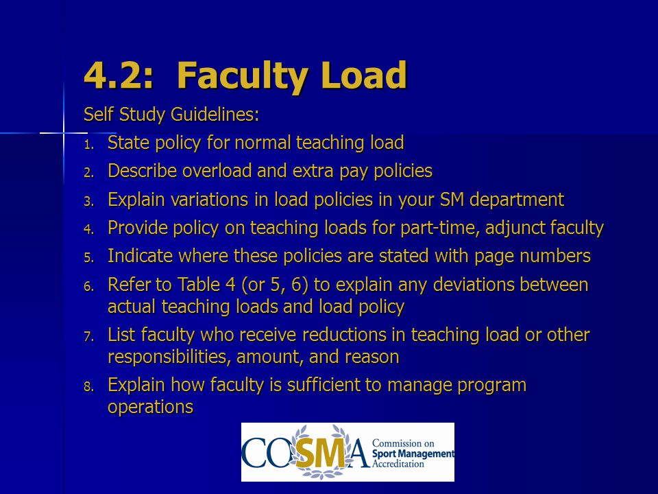 4.2: Faculty Load Self Study Guidelines: