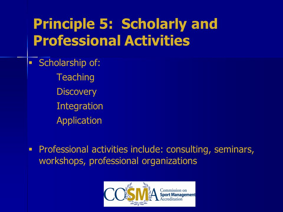 Principle 5: Scholarly and Professional Activities