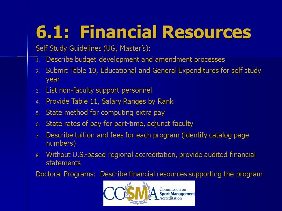 6.1: Financial Resources Self Study Guidelines (UG, Master's):