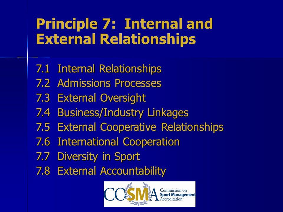 Principle 7: Internal and External Relationships