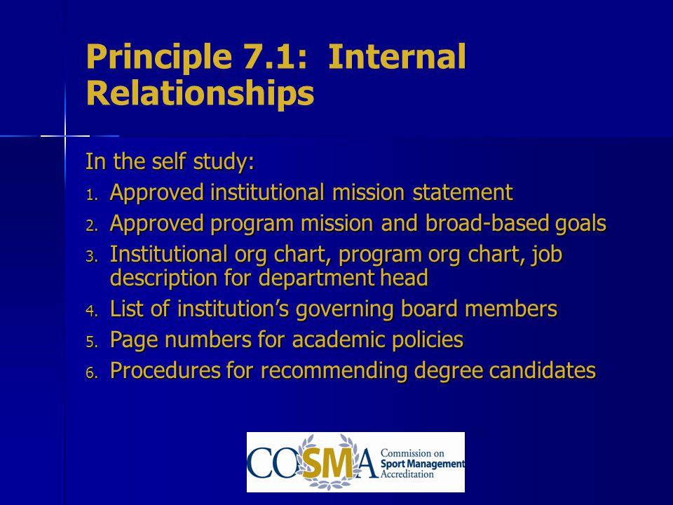 Principle 7.1: Internal Relationships
