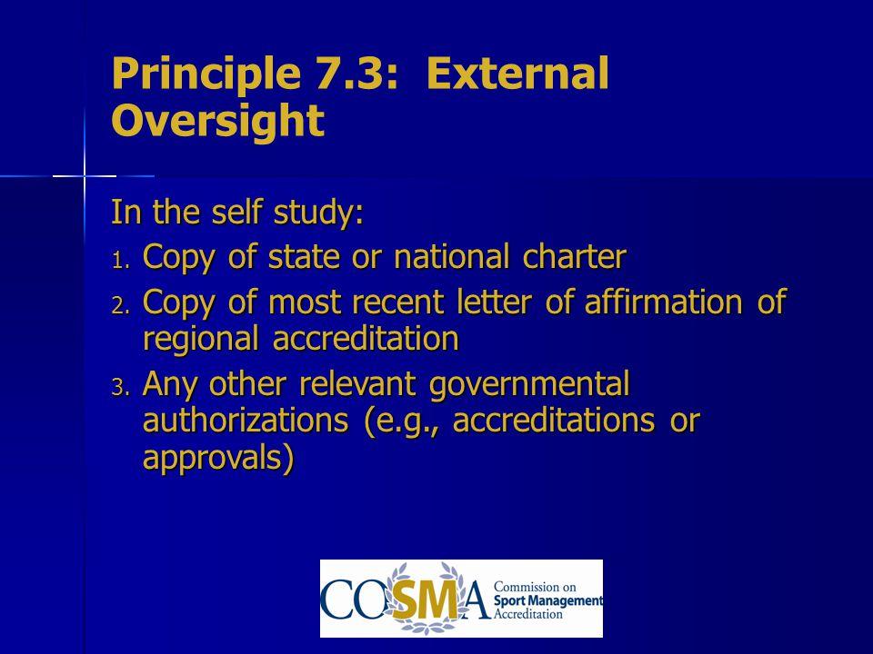 Principle 7.3: External Oversight