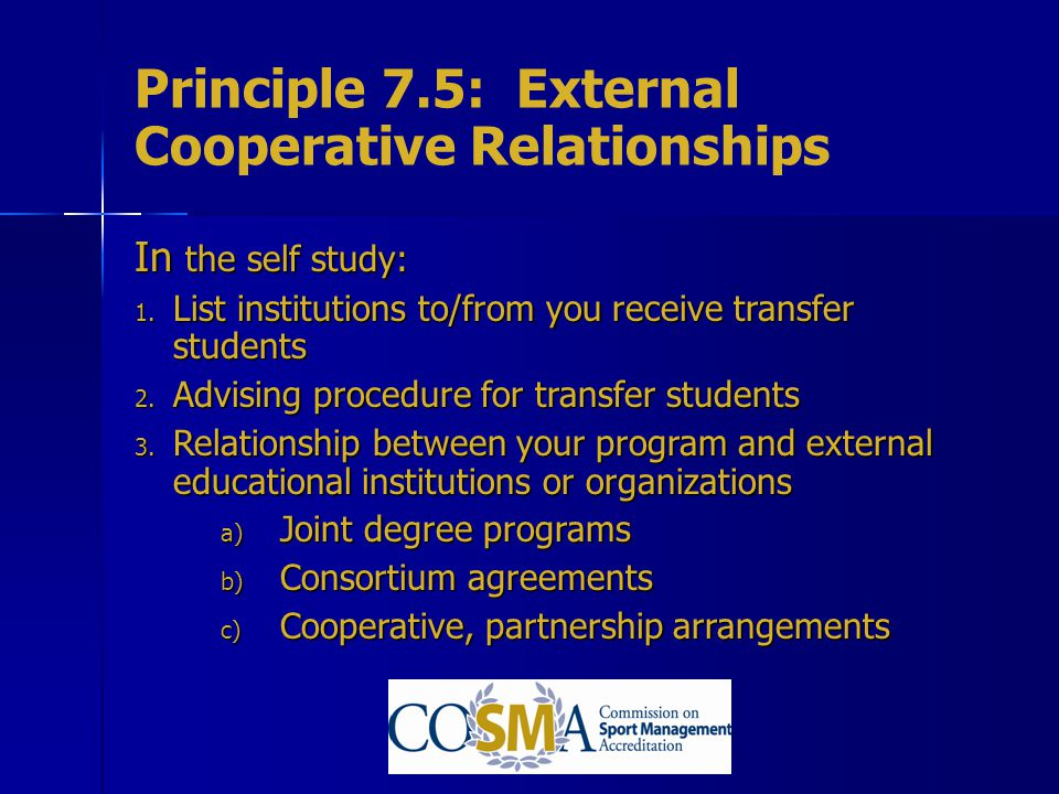 Principle 7.5: External Cooperative Relationships