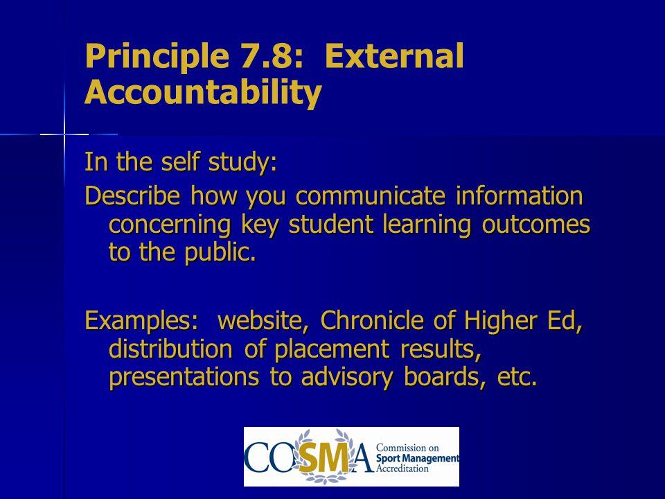 Principle 7.8: External Accountability