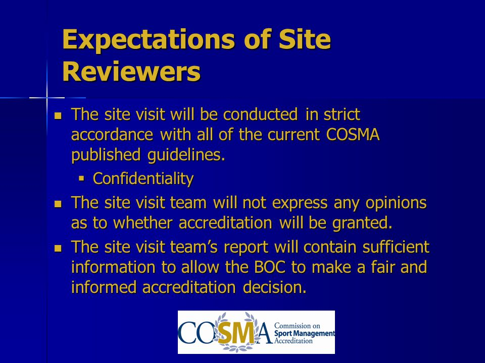 Expectations of Site Reviewers