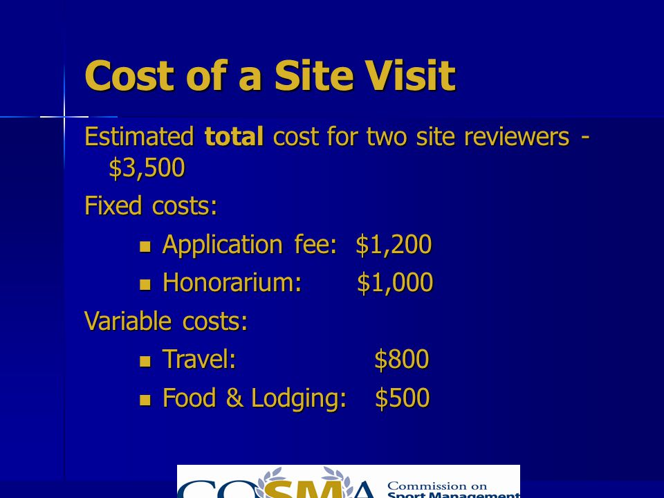 Cost of a Site Visit Estimated total cost for two site reviewers - $3,500. Fixed costs: Application fee: $1,200.