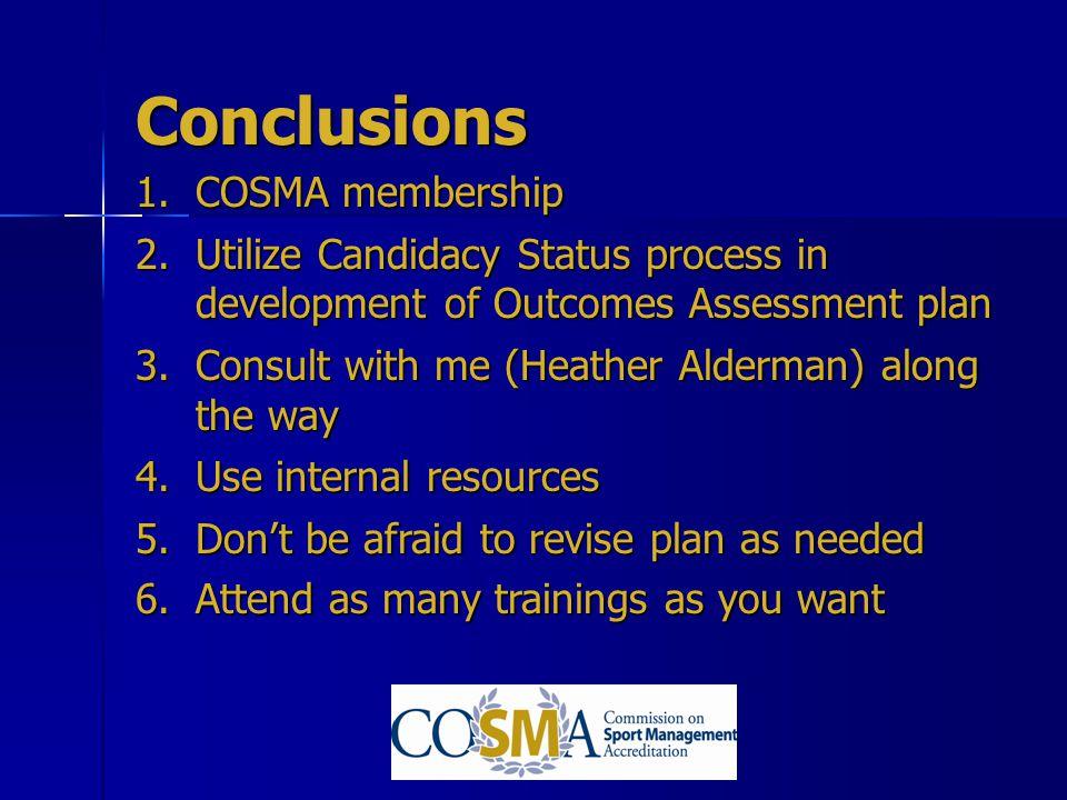 Conclusions COSMA membership