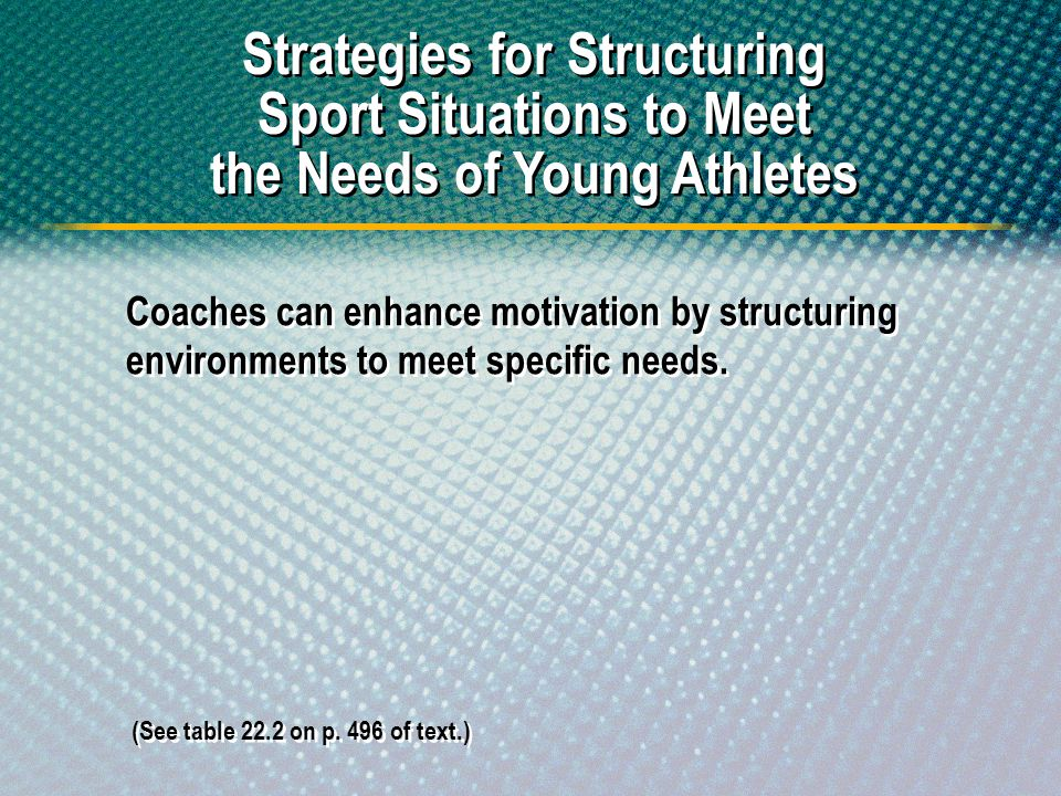 Strategies for Structuring Sport Situations to Meet the Needs of Young Athletes