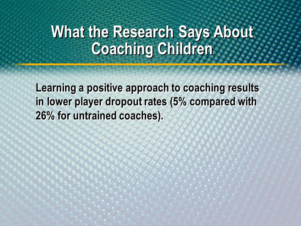 What the Research Says About Coaching Children