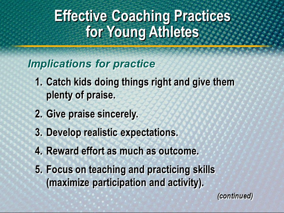Effective Coaching Practices for Young Athletes