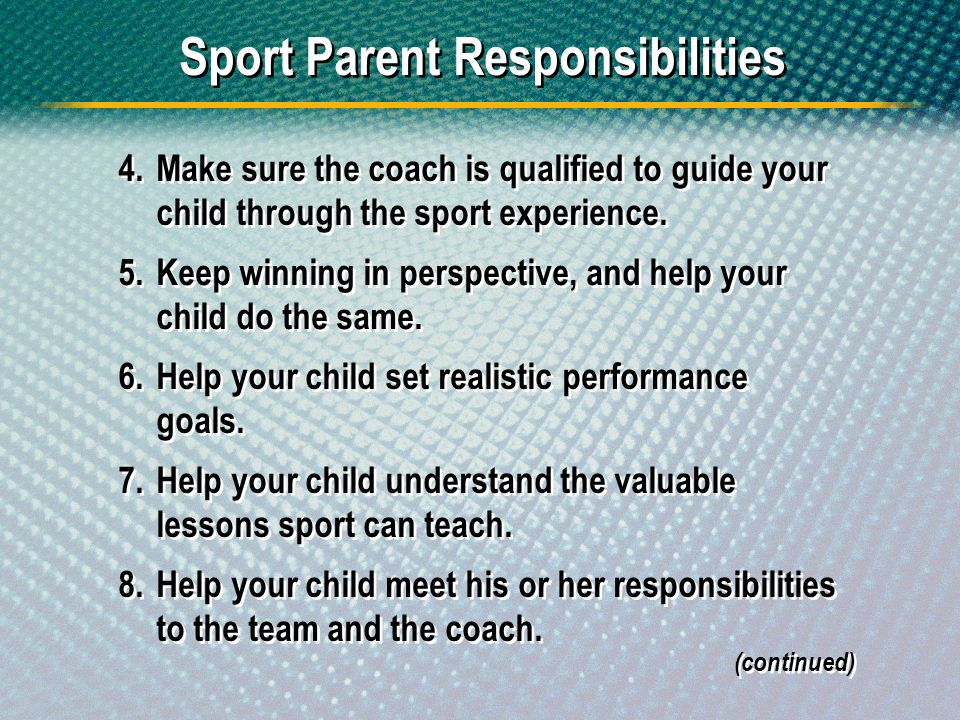 Sport Parent Responsibilities