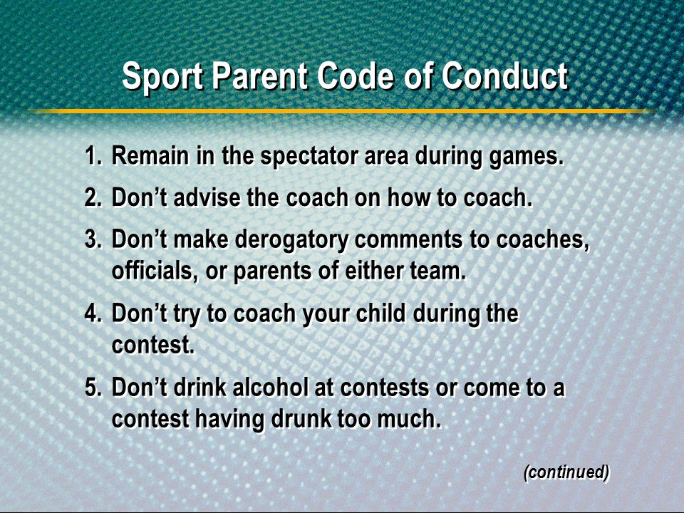 Sport Parent Code of Conduct