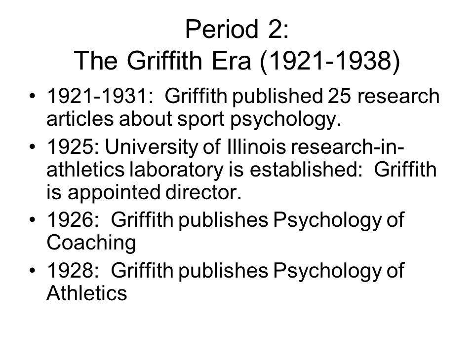 Period 2: The Griffith Era (1921-1938)