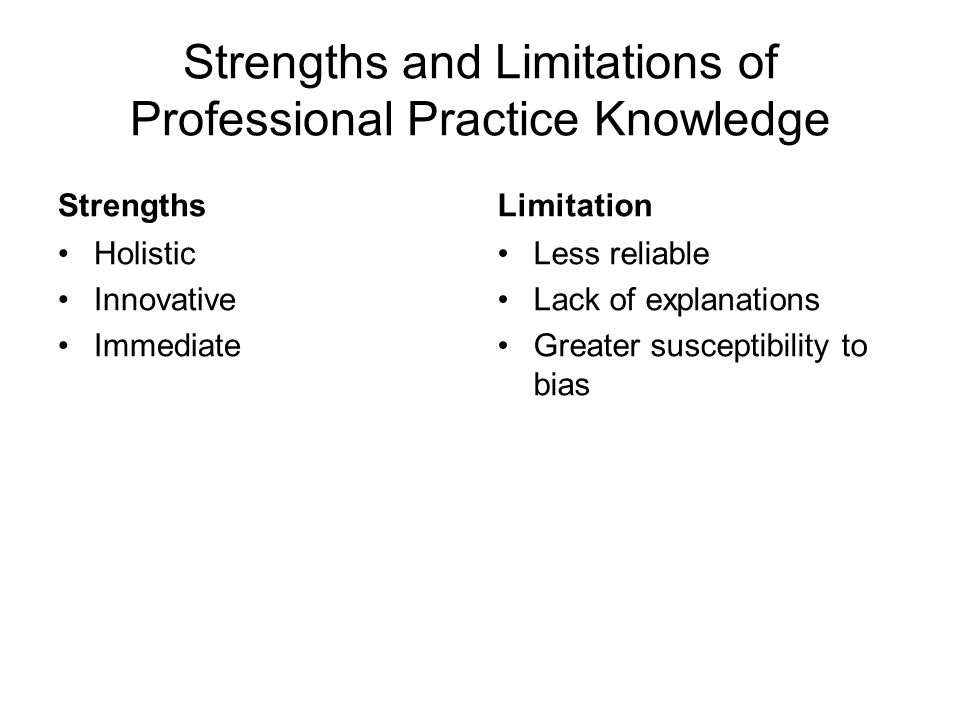 Strengths and Limitations of Professional Practice Knowledge
