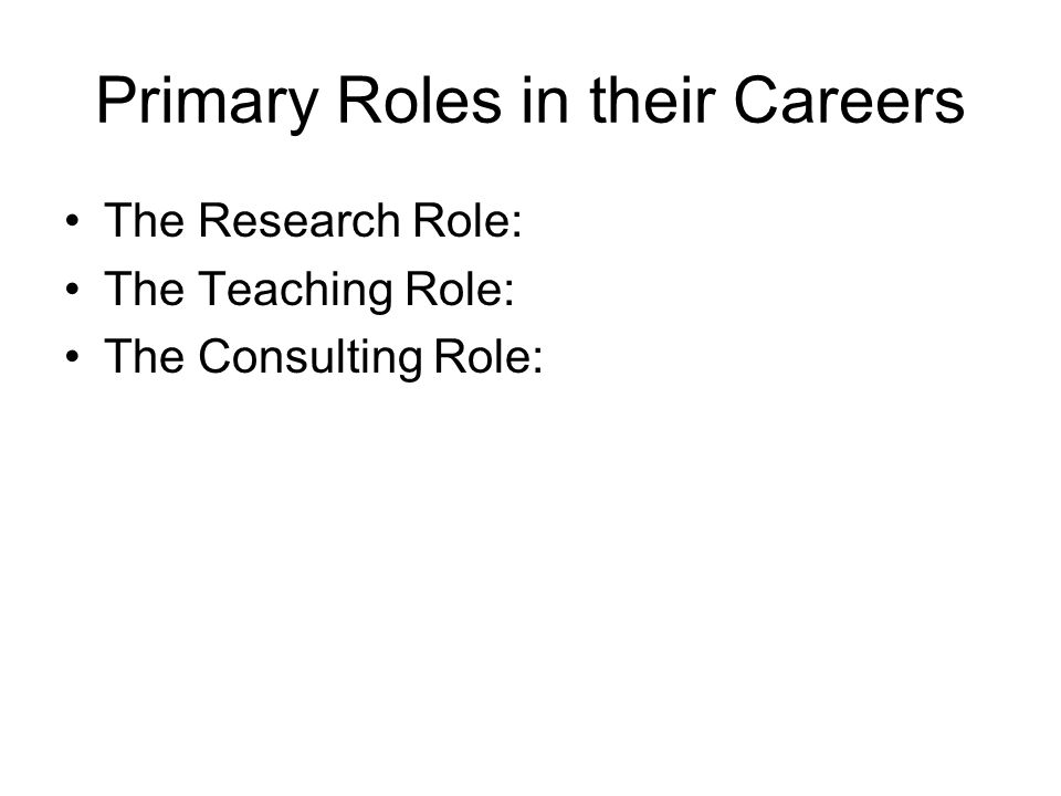 Primary Roles in their Careers