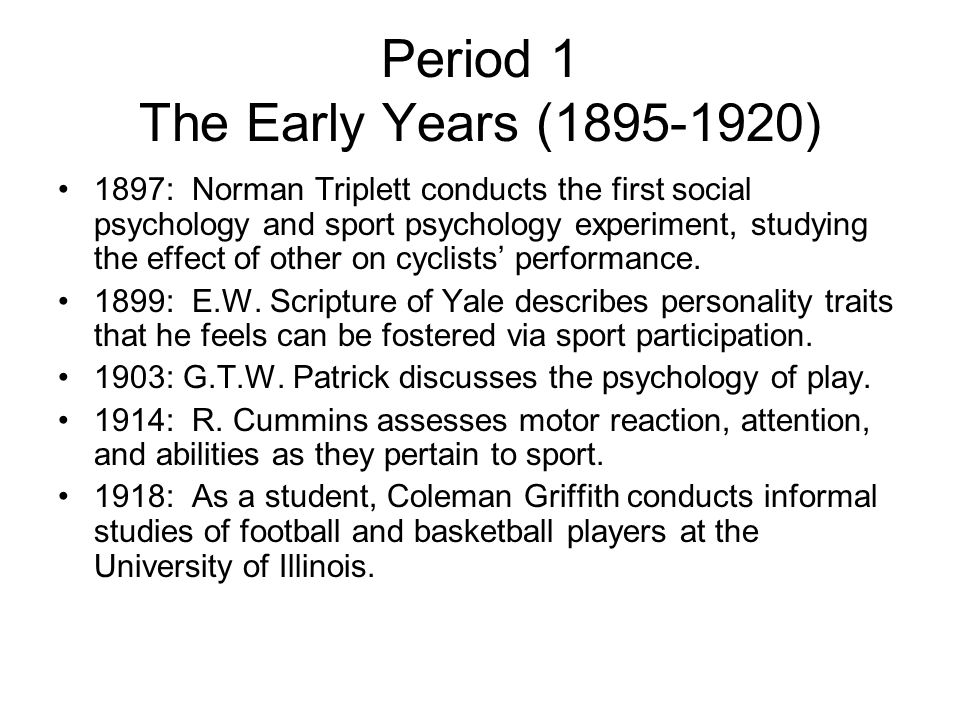Period 1 The Early Years (1895-1920)