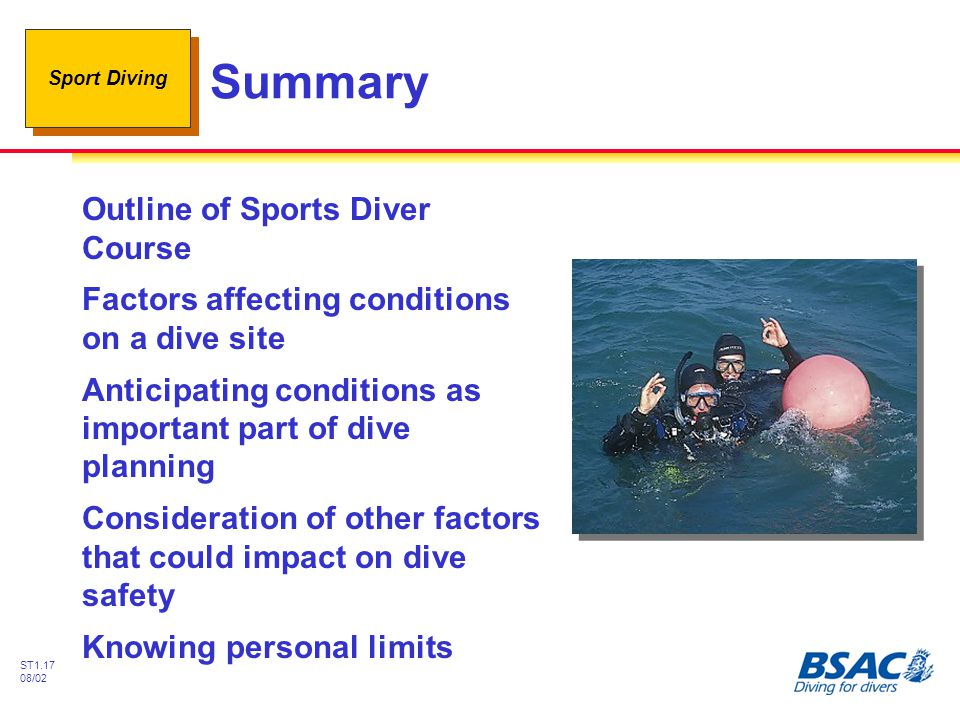 Summary Outline of Sports Diver Course