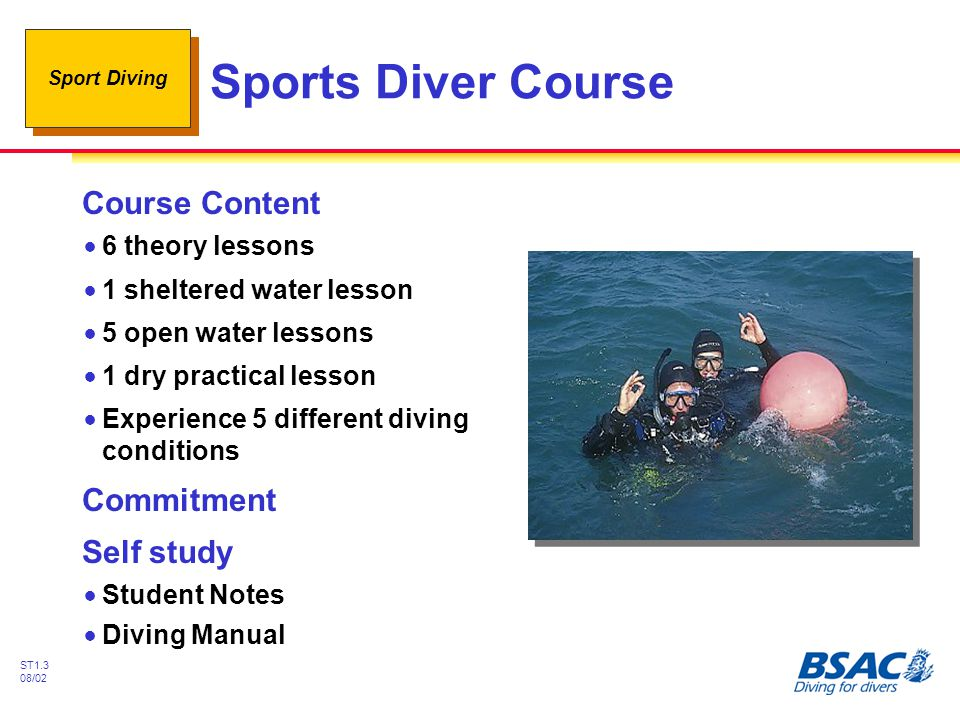 Sports Diver Course Course Content Commitment Self study