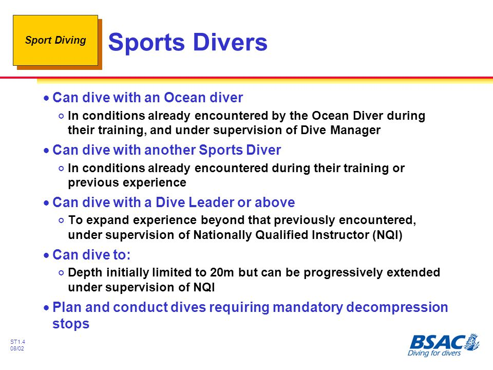 Sports Divers Can dive with an Ocean diver