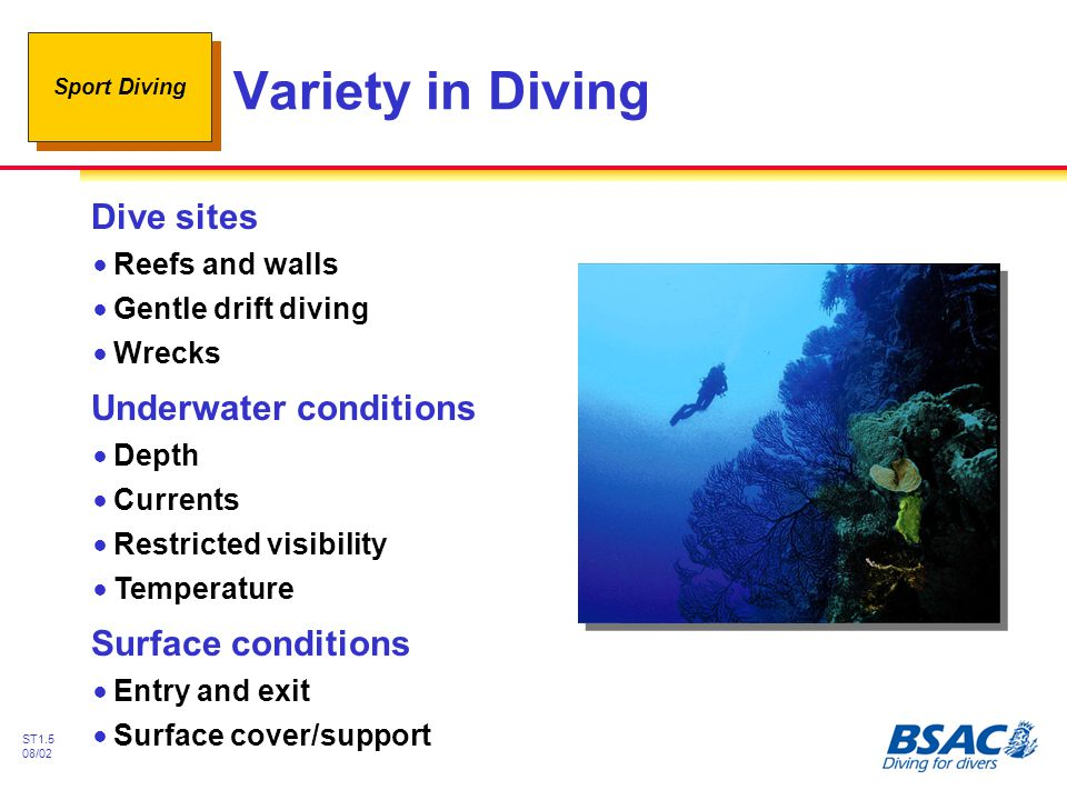 Variety in Diving Dive sites Underwater conditions Surface conditions