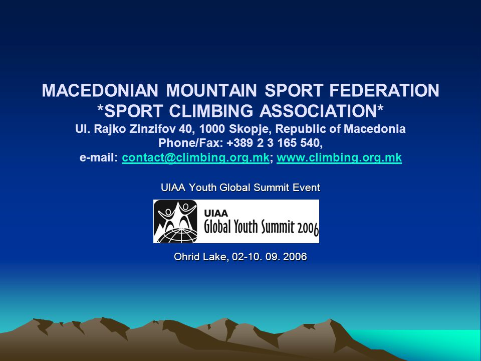 MACEDONIAN MOUNTAIN SPORT FEDERATION. SPORT CLIMBING ASSOCIATION. Ul