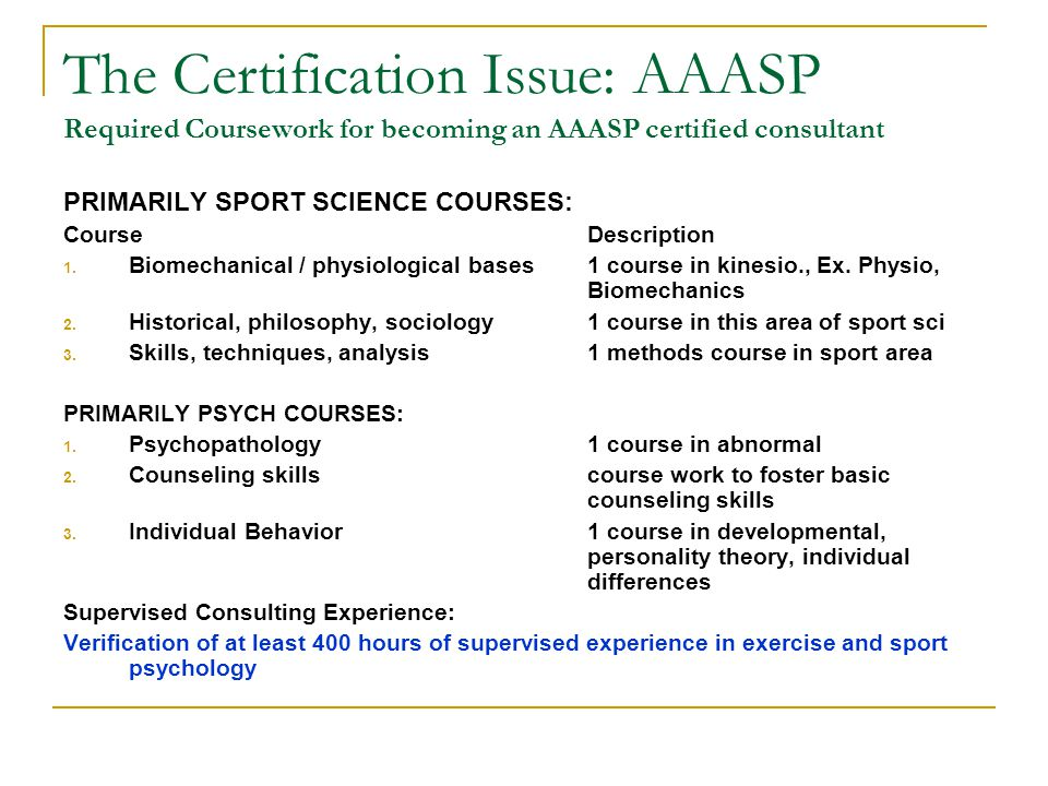 The Certification Issue: AAASP Required Coursework for becoming an AAASP certified consultant