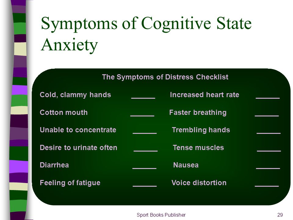 Symptoms of Cognitive State Anxiety