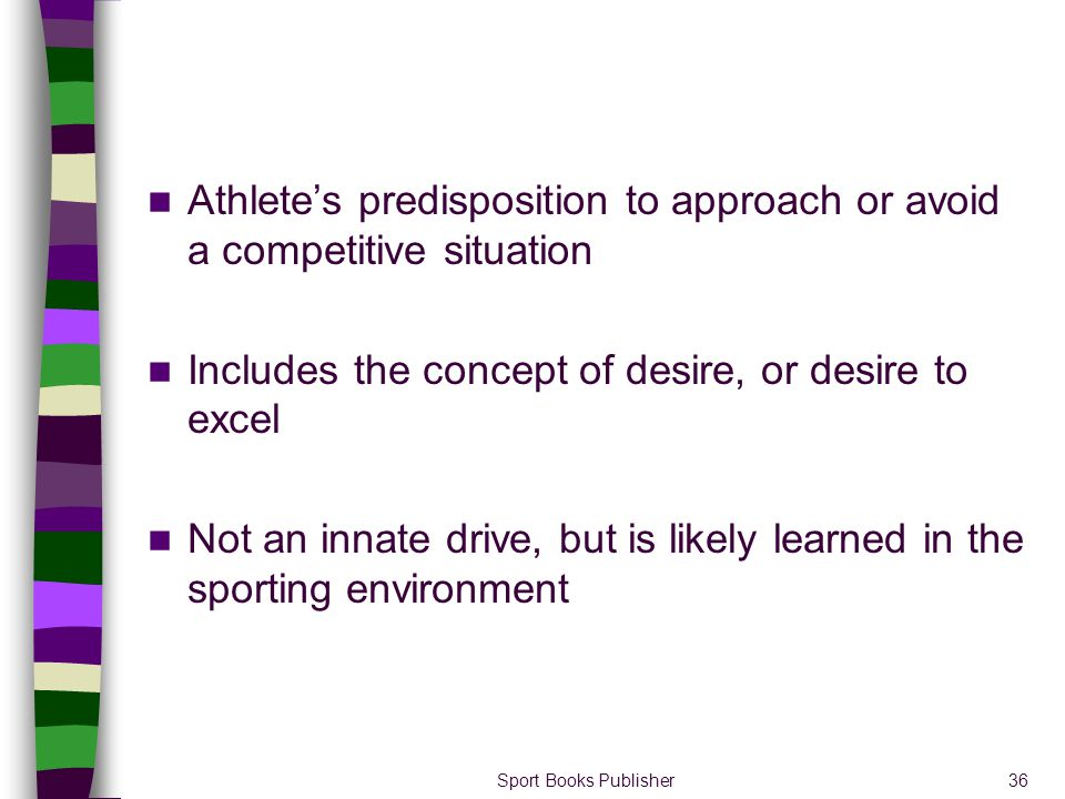 Athlete's predisposition to approach or avoid a competitive situation