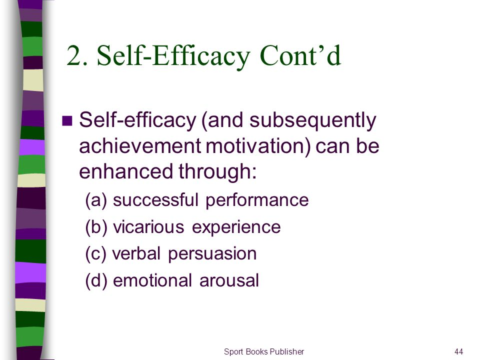 2. Self-Efficacy Cont'd Self-efficacy (and subsequently achievement motivation) can be enhanced through: