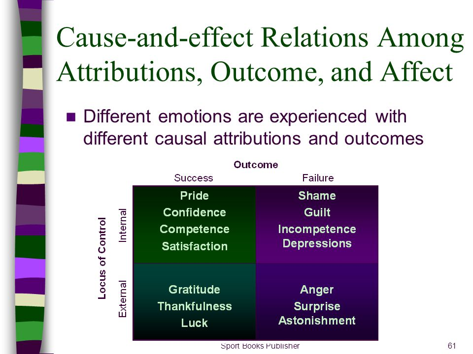 Cause-and-effect Relations Among Attributions, Outcome, and Affect