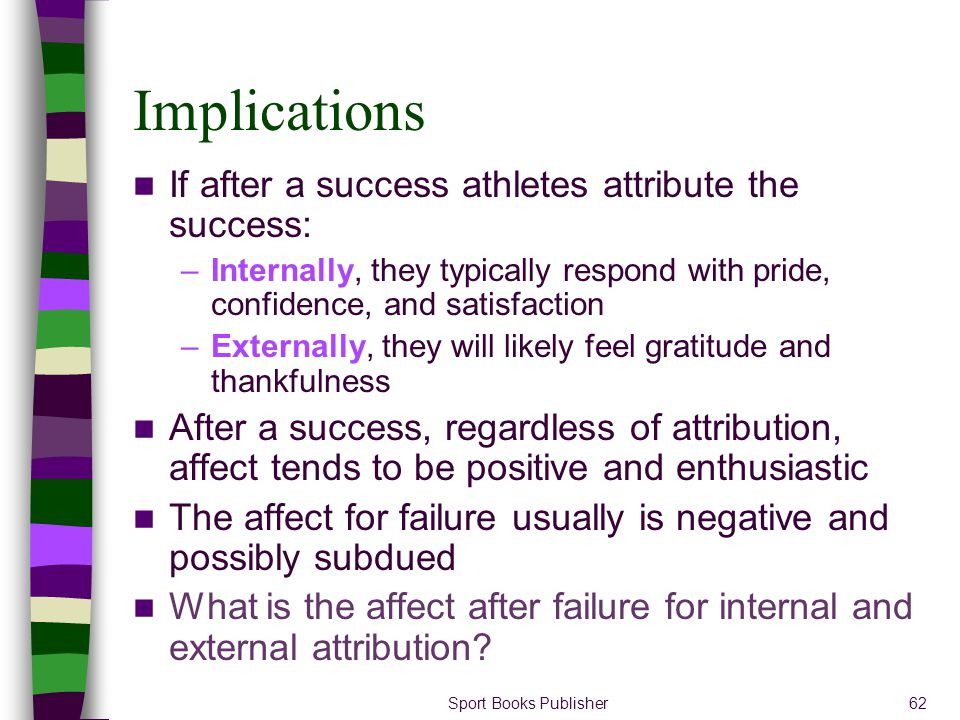 Implications If after a success athletes attribute the success: