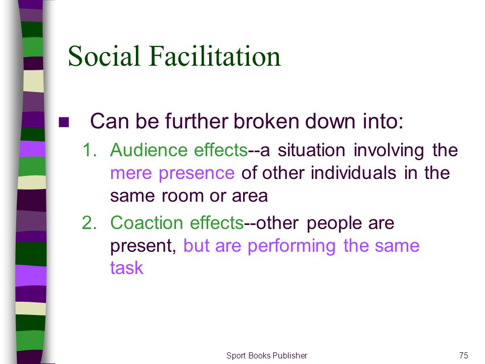 Social Facilitation Can be further broken down into: