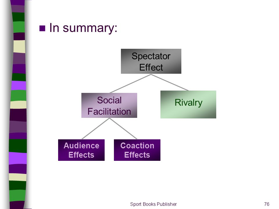 In summary: Spectator Effect Social Facilitation Rivalry
