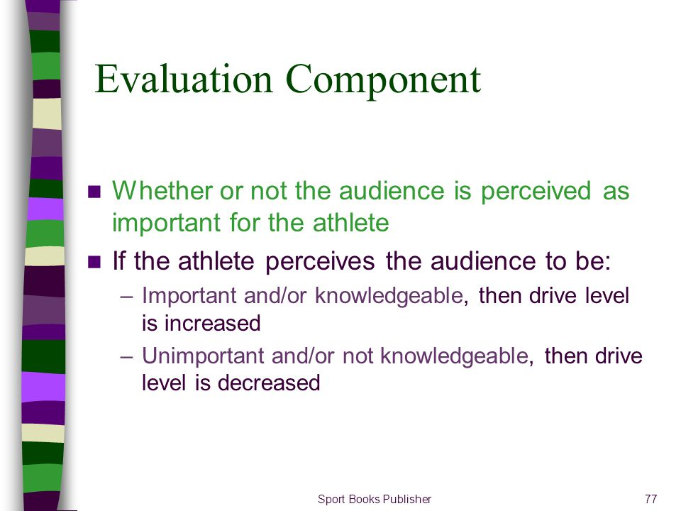 Evaluation Component Whether or not the audience is perceived as important for the athlete. If the athlete perceives the audience to be: