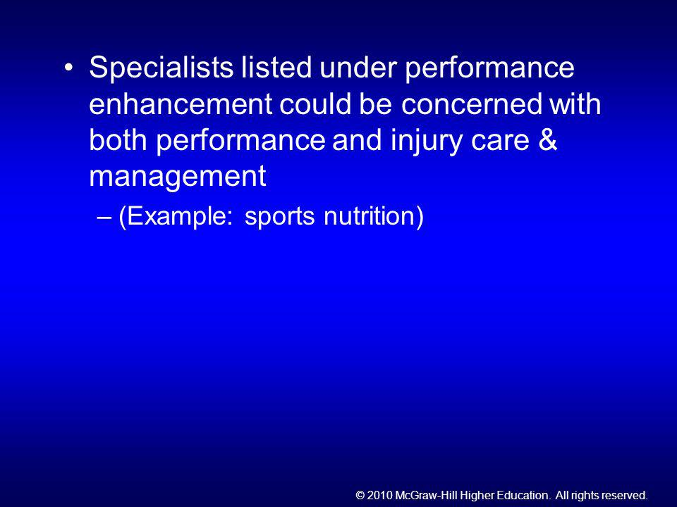 Specialists listed under performance enhancement could be concerned with both performance and injury care & management