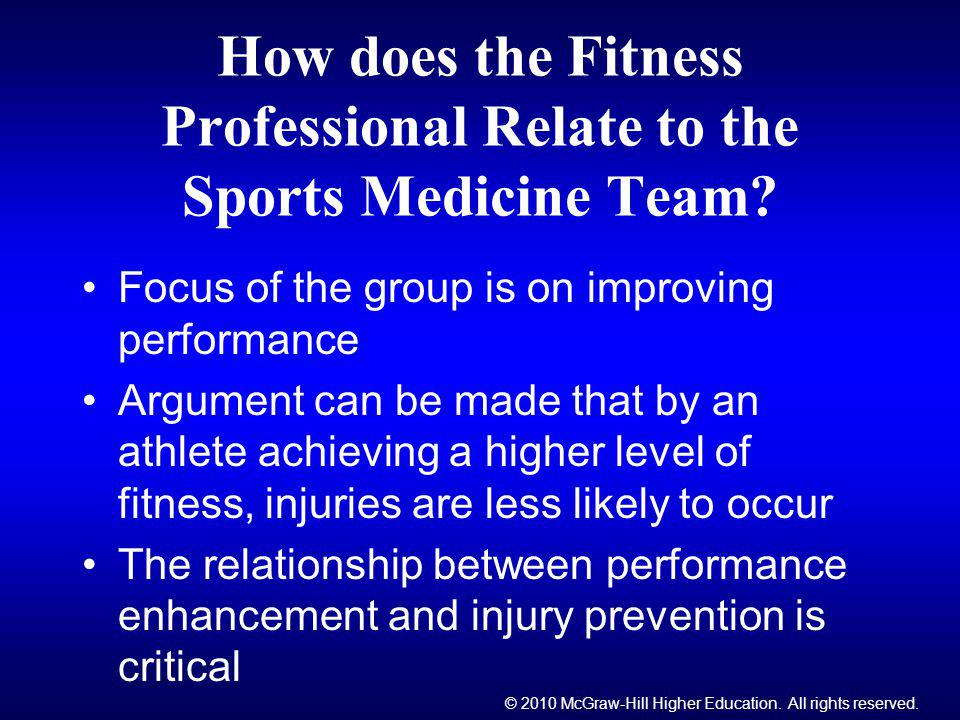 How does the Fitness Professional Relate to the Sports Medicine Team