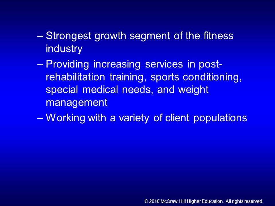 Strongest growth segment of the fitness industry
