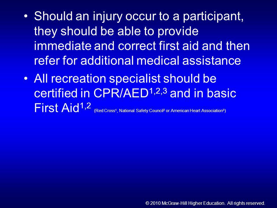 Should an injury occur to a participant, they should be able to provide immediate and correct first aid and then refer for additional medical assistance