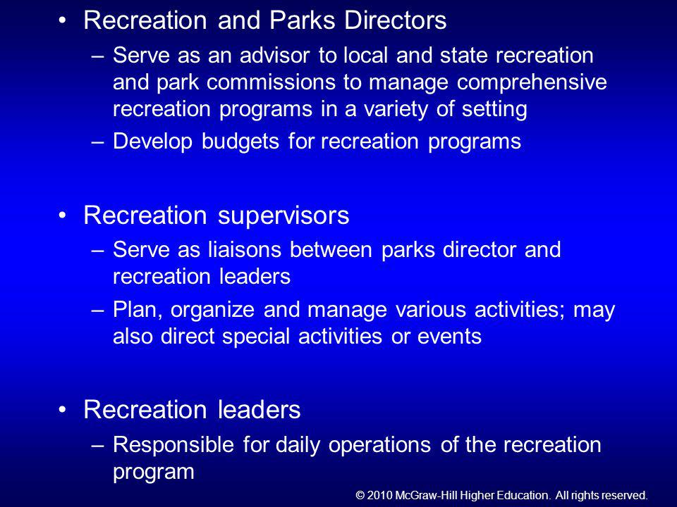 Recreation and Parks Directors