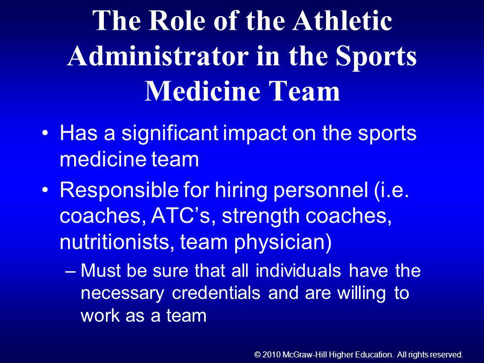 The Role of the Athletic Administrator in the Sports Medicine Team