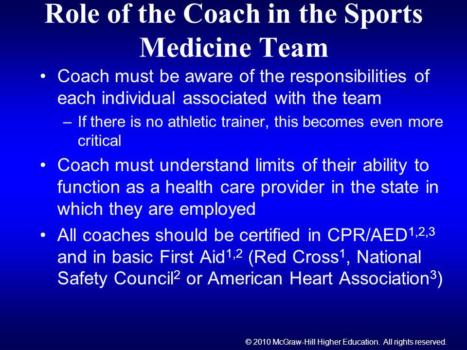 Role of the Coach in the Sports Medicine Team