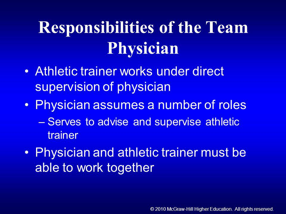 Responsibilities of the Team Physician