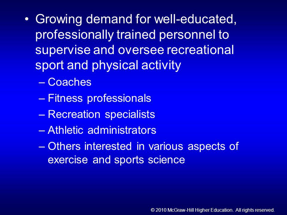 Growing demand for well-educated, professionally trained personnel to supervise and oversee recreational sport and physical activity