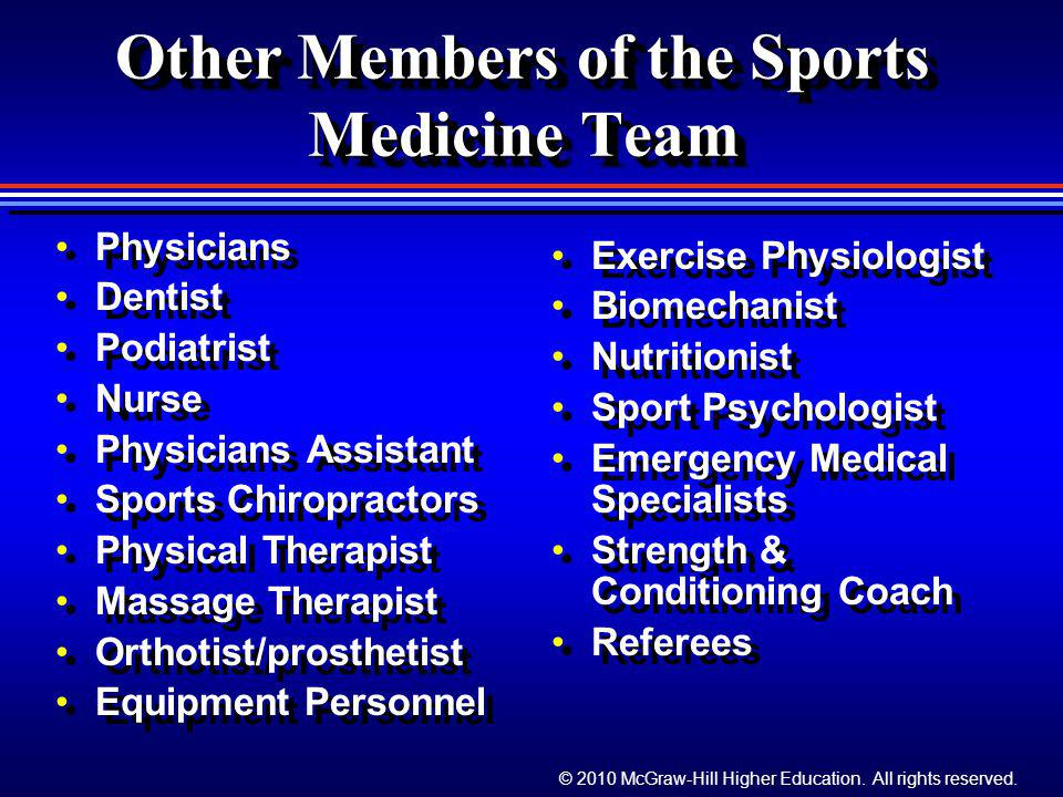 Other Members of the Sports Medicine Team